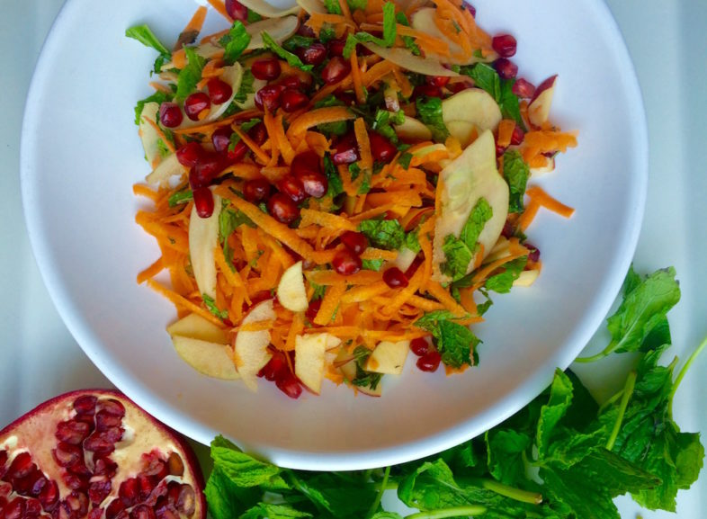 Deliciously Healthy Carrot, Mint and Pomegranate Salad